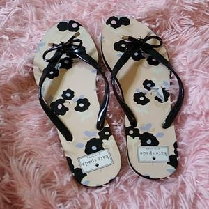 Kate spade flower flip flops sandals pink black